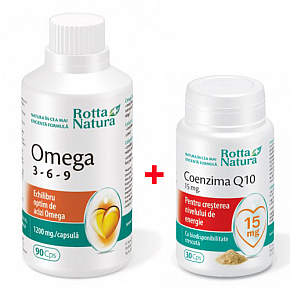 Pachet promotional Omega 369 90 cps. si Coenzima Q10 15 mg 30 cps.