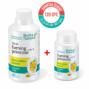 Promo pack Evening primrose + Vit. E 120 cps. at the price of 90 cps.