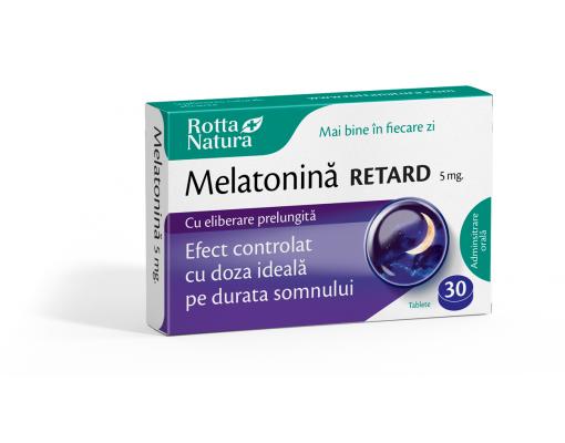 imageMelatonină Retard 5 mg. cu efect prelungit pe toată durata somnului