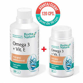 Promo pack OMEGA 3+Vit.E 120 cps. at the price of 90 cps.