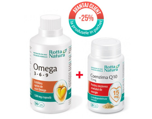 imagePachet promotional Omega 369 90 cps. si Coenzima Q10 15 mg 30 cps.