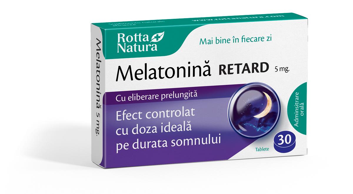 Melatonină Retard 5 mg. cu efect prelungit pe toată durata somnului