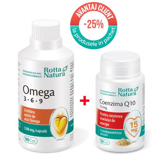 Pachet Omega 369 90 cps. si Coenzima Q10 15 mg 30 cps.