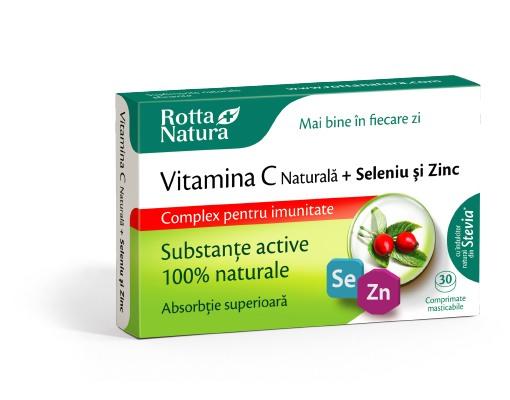 Vitamina C naturala + Seleniu si Zinc, 30 cpr. masticabile